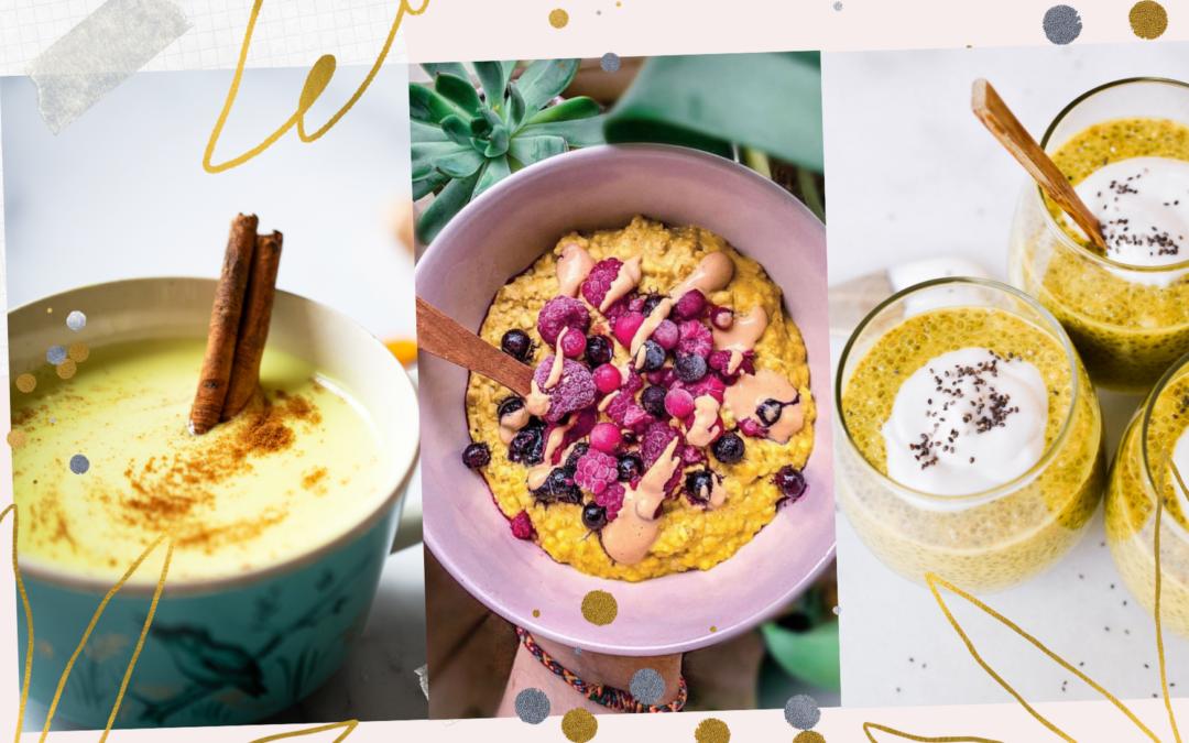 Golden Breakfast: 3 Kurkuma Frühstücksrezepte – Goldene Milch – Golden Oats – Golden Chia