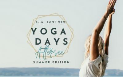 Findet fix statt:  Yoga Days Attersee, 3. – 6. Juni 2021